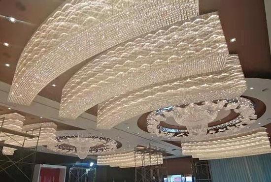 酒店大堂宴会厅大型水晶工程灯